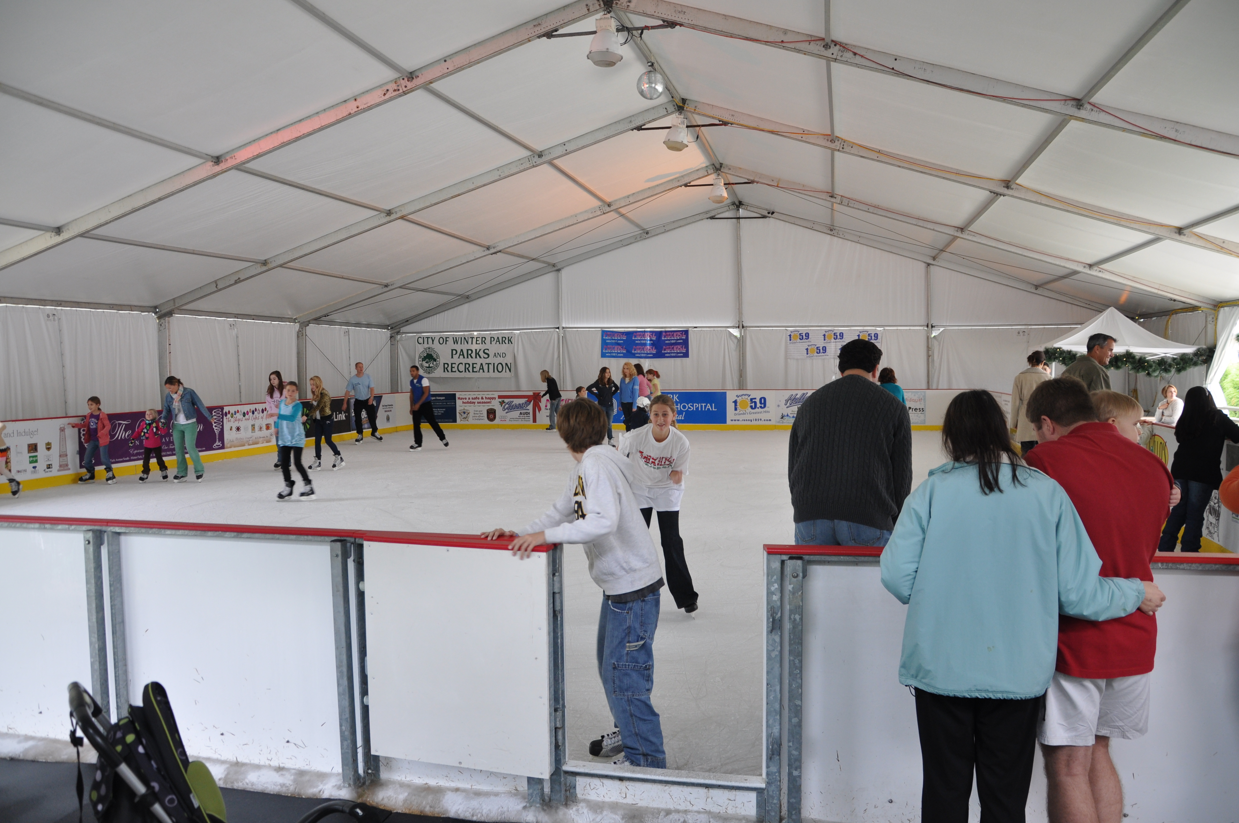 winter park outdoor ice skating during the holidays in central