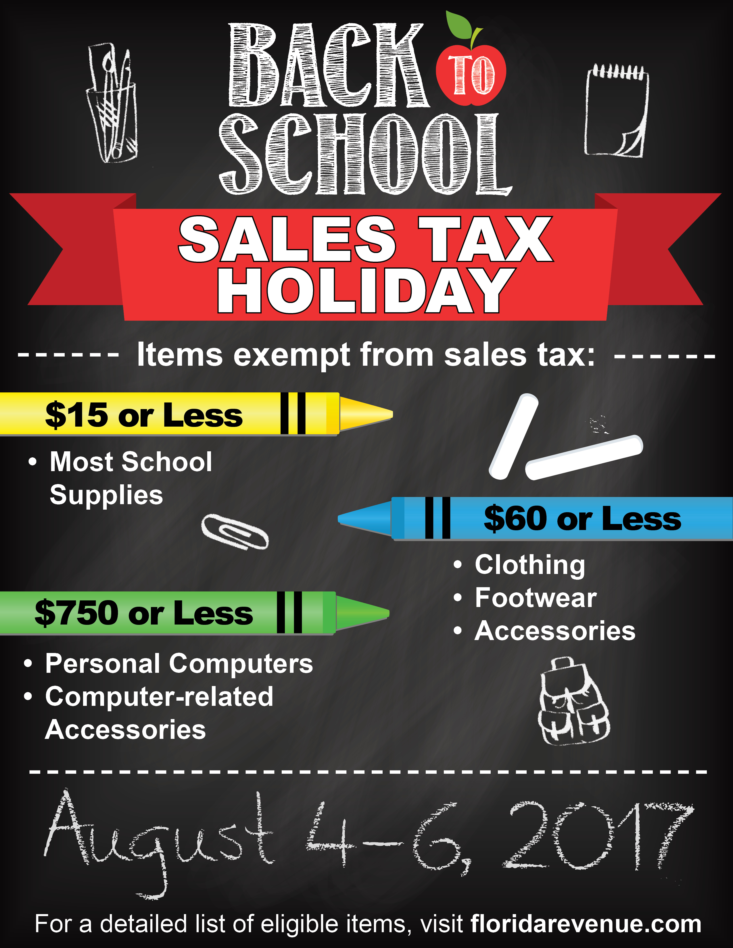 2018 Tax Free Holiday in Orlando for Back to School Shopping